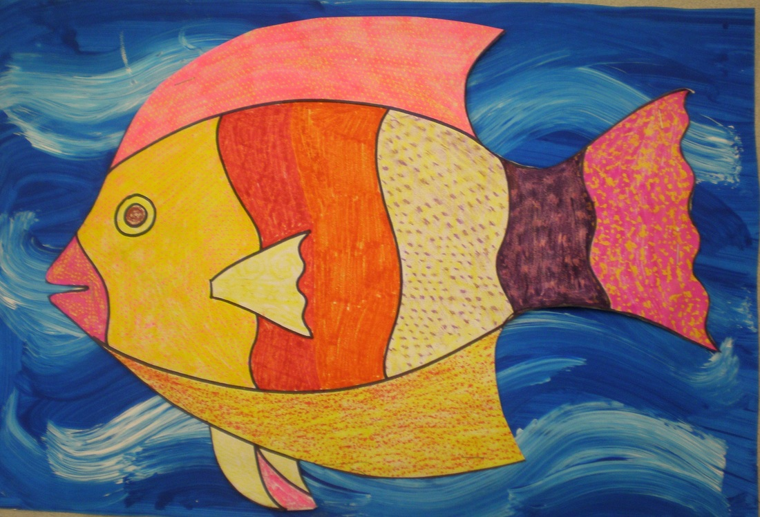 This Was A Fun End Of The Year Lesson For Our Kindergartners I Had Students Draw Huge Fish Then Use Texture Plates To Color It In Using Warm Colors